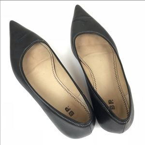 BP Nordstrom black leather catty pointy flats